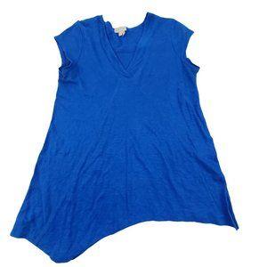 Meadow Rue Top M 100% linen Asymmetric Blue V-neck